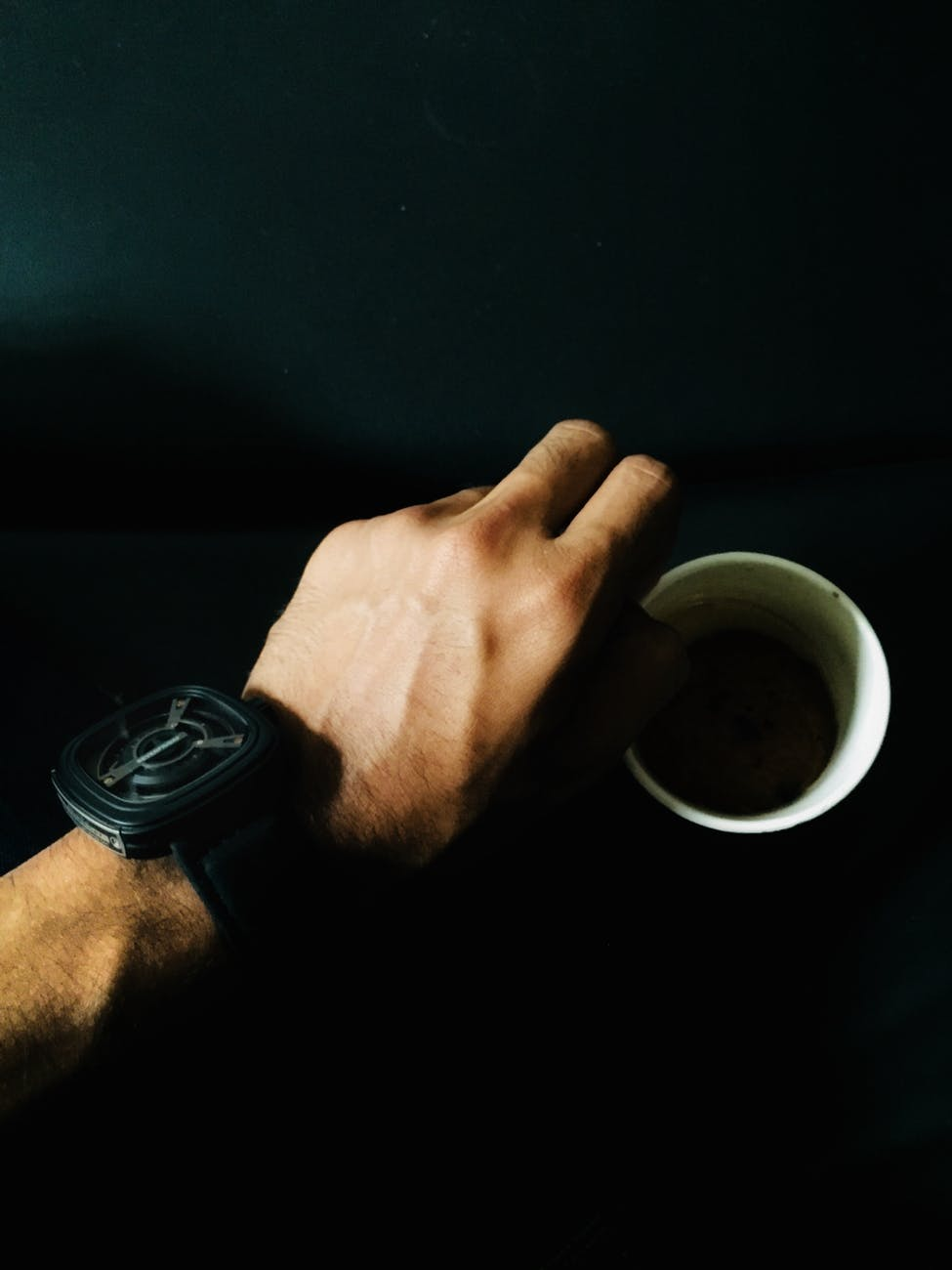 person hand and cup of coffee