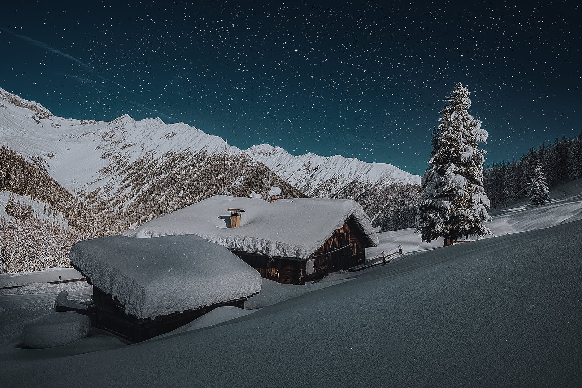 photo of ice coated house roofs beside green pine tree during snow night time